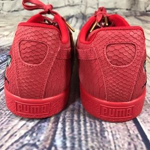 2cfee87a4716 Puma Shoes - Puma Clyde Snake Embroidery Red aglet